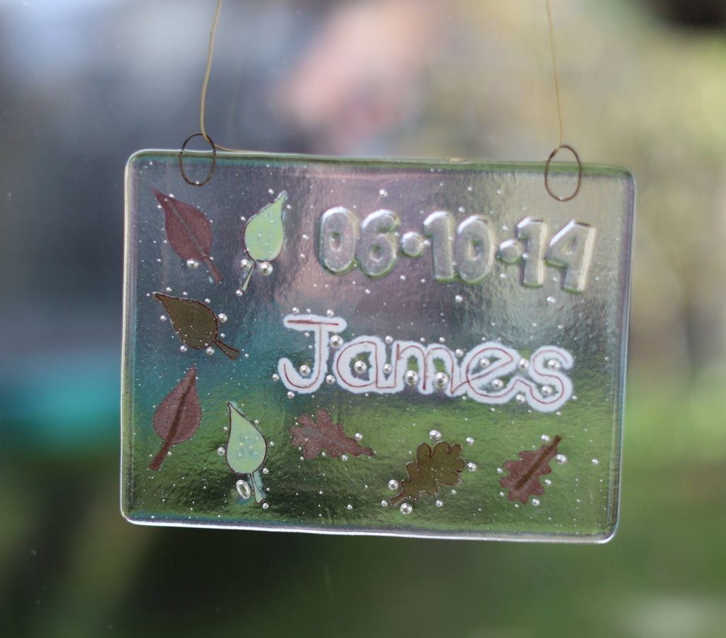 Leaves Design Personalised Life Event (eg birthday) Glass Panel 200 x 150mm size in window