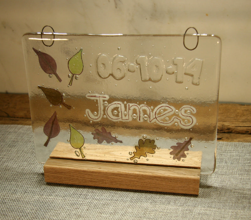 Leaves Design Personalised Life Event (eg birthday) Glass Panel 200 x 150mm size white glass back