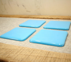 Light Cyan blue opal fused art glass coaster 100x100mm size angled view