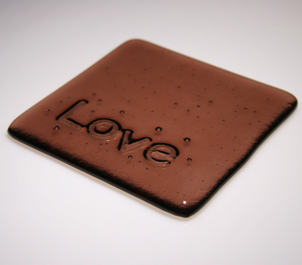 Well Made Stuff - Handmade Light Plum Transparent colour fused art glass Inspirational Love Coaster - perfect as a gift or something for your home - great agape