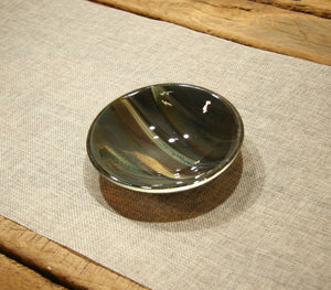 Petrified wood fused art glass bowl 125mm size from above