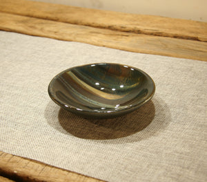 Petrified wood fused art glass bowl 125mm size perspective view