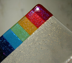 Rainbow design clear iridescent fused art glass coaster 100x100mm size shimmer detail