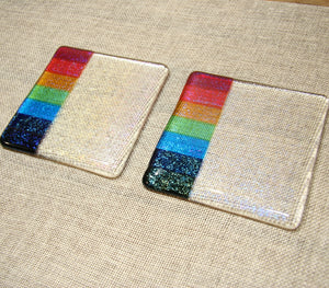 Rainbow design clear iridescent fused art glass coaster 100x100mm size side by side