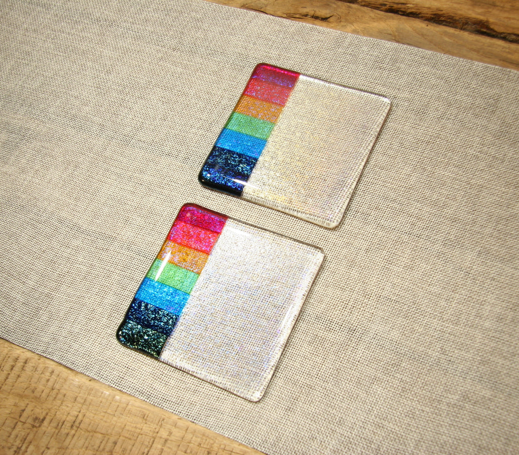 Rainbow design clear iridescent fused art glass coaster 100x100mm size