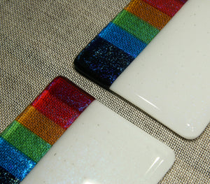 Rainbow design white iridescent fused art glass coaster 100x100mm size angled detail