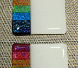 Rainbow design white iridescent fused art glass coaster 100x100mm size straight detail