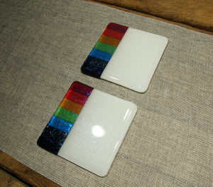 Rainbow design white iridescent fused art glass coaster 100x100mm size low exposure