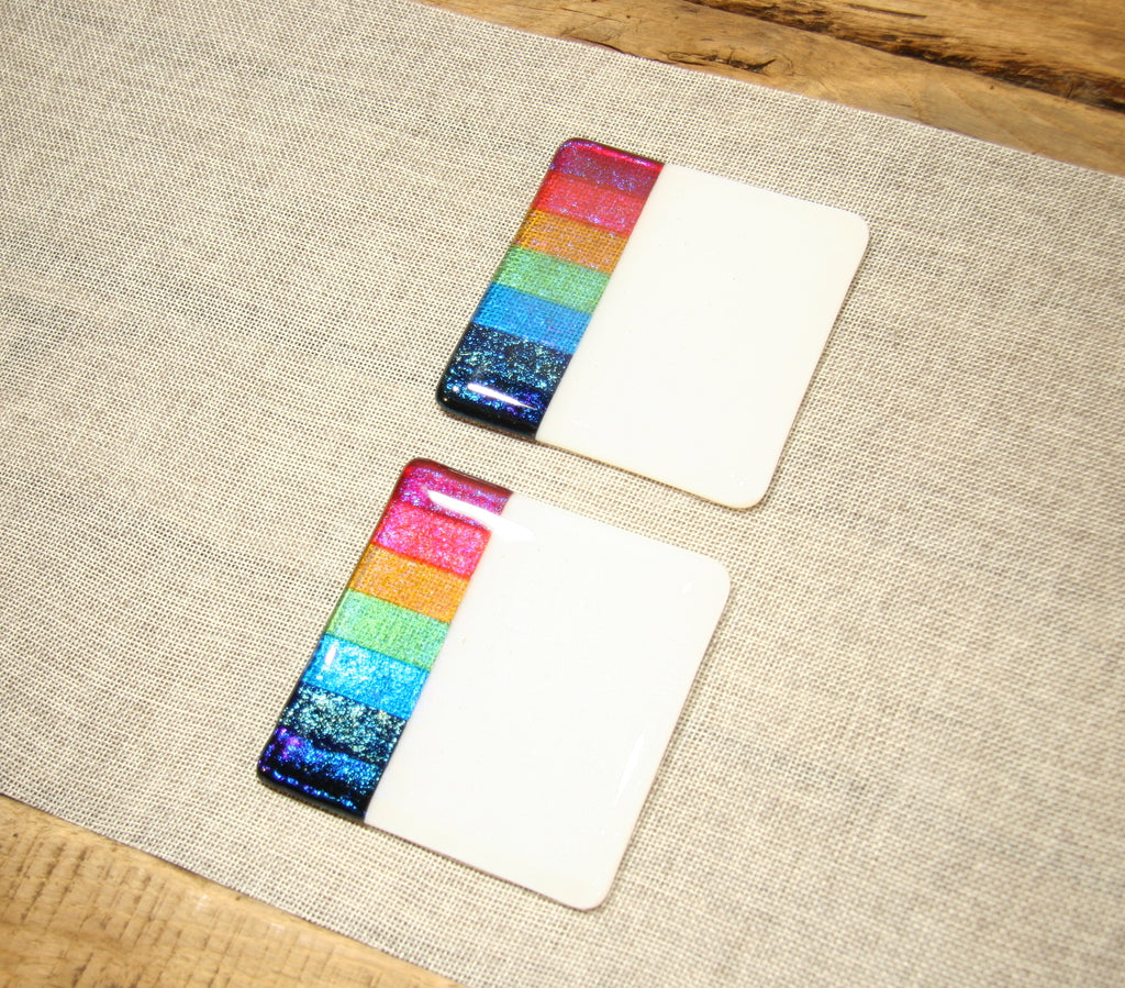 Rainbow design white iridescent fused art glass coaster 100x100mm size