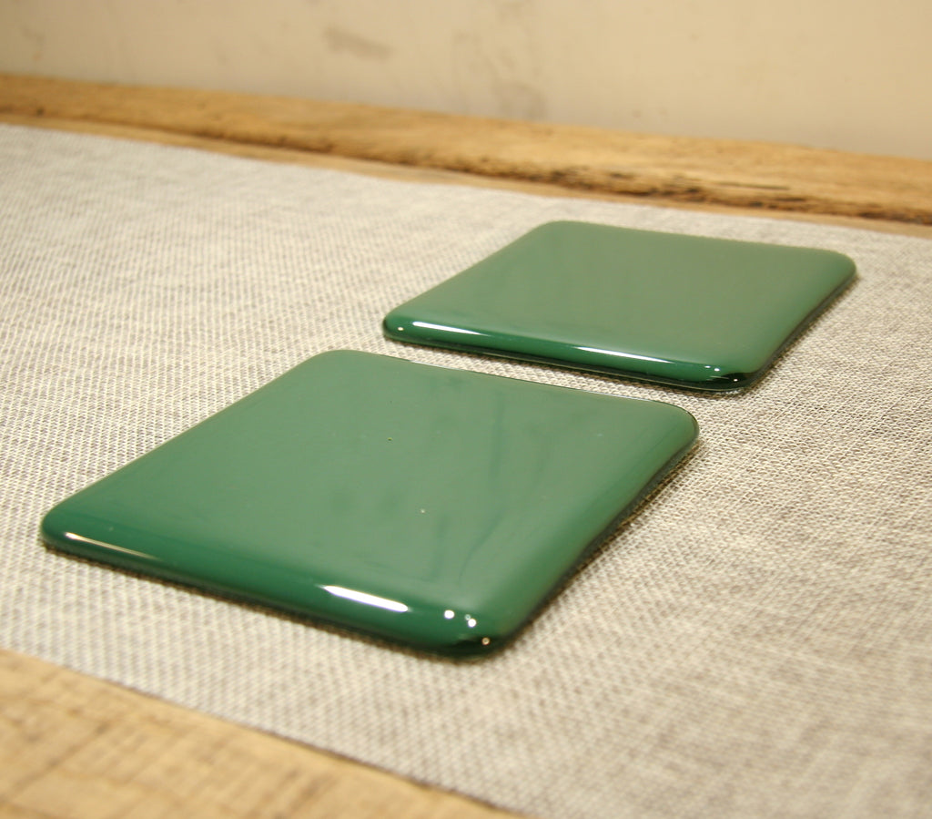 Steel jade green opal fused art glass coaster 100x100mm size