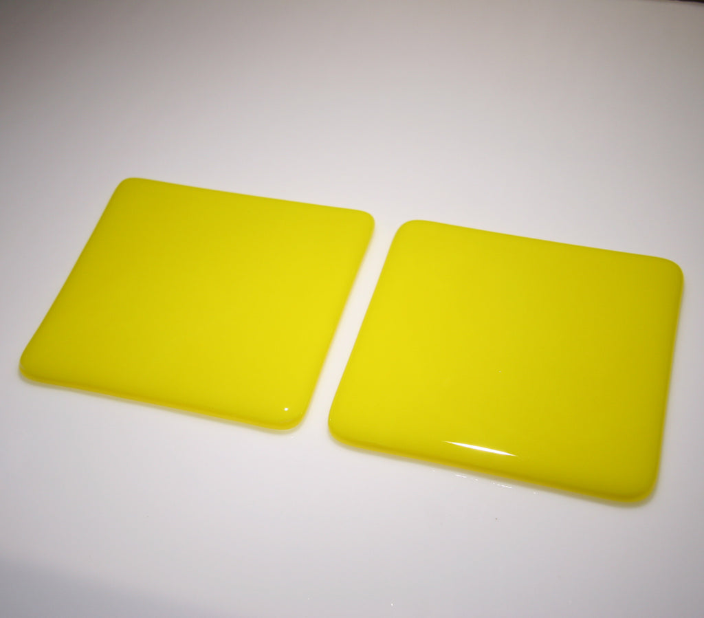 Well Made Stuff - Handmade sunflower yellow colour fused art glass coaster designed as a gift to give - bright and vibrant colour