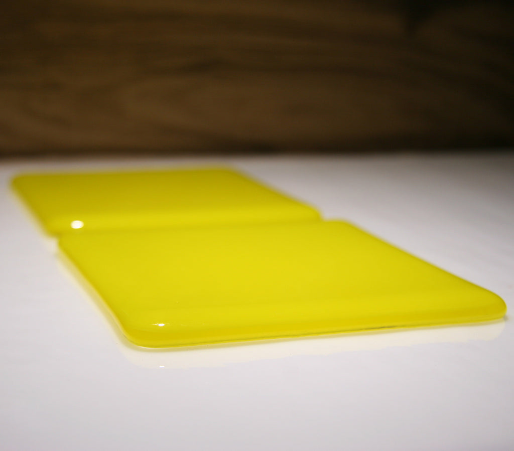 Well Made Stuff - Handmade sunflower yellow opal colour fused art glass coaster - perfect as a gift or something for your home - wonderful fun present