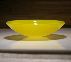 Well Made Stuff - Handmade sunflower yellow opal colour fused art glass small bowl - perfect as a gift or something for your home - high quality artisan finish