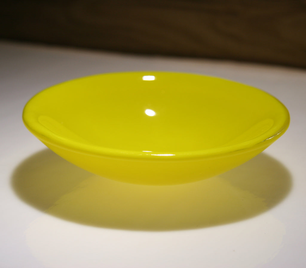 Well Made Stuff - Handmade sunflower yellow opal colour fused art glass small bowl - perfect as a gift or something for your home - astonishing spherical shape