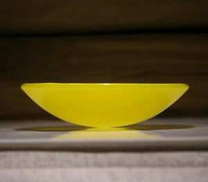 Well Made Stuff - Handmade cream  sunflower yellow colour fused art glass bowl designed as a gift to give - bright and vibrant colour