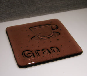 Well Made Stuff - Handmade fused art glass personalised honour coaster - Tea Cup - Light Plum Transparent Glass