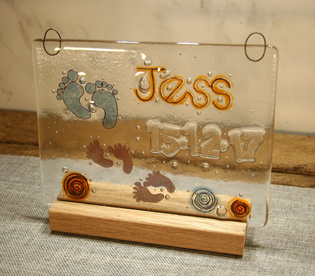 Tiny Feet Design Personalised Life Event (eg birthday) Glass Panel 200 x 150mm size