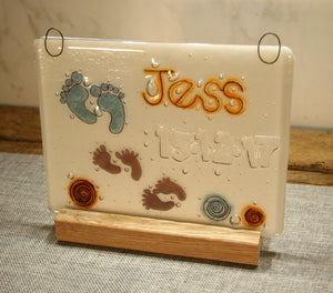 Tiny Feet Design Personalised Life Event (eg birthday) Glass Panel 200 x 150mm size white glass back