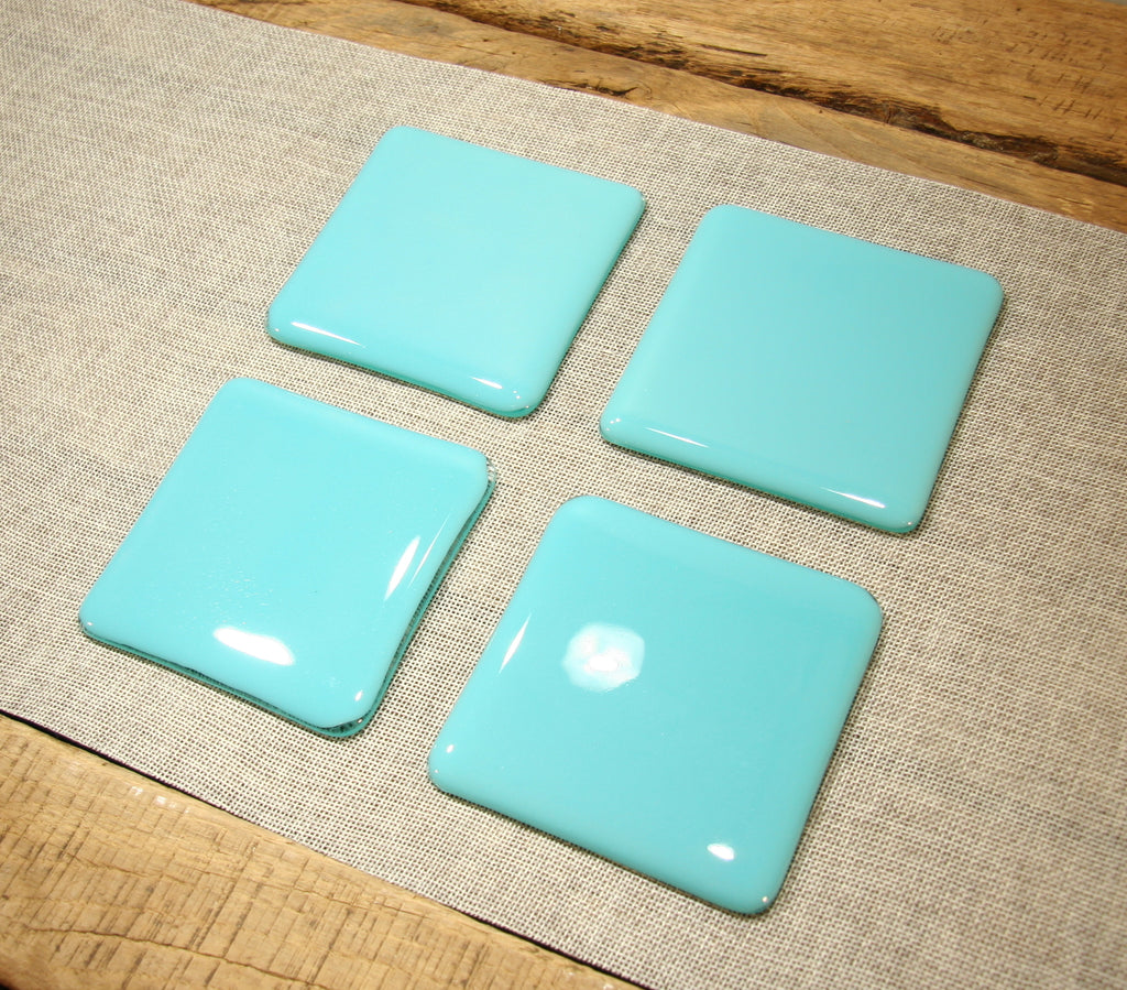 Turquoise blue opal fused art glass coaster 100x100mm size