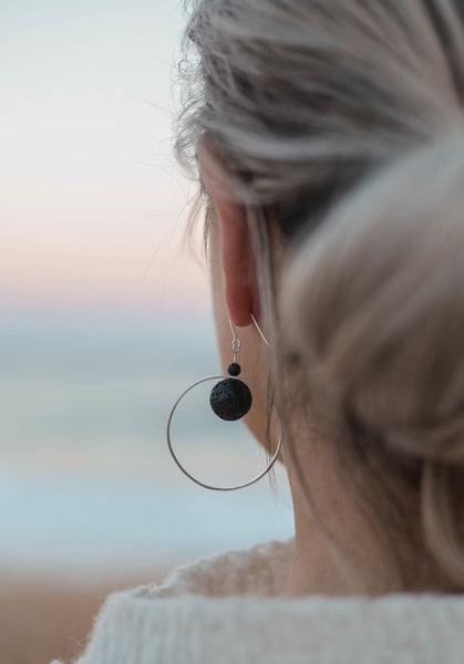 Saturn Earrings - black