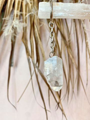 Clear Quartz Raw Point Key Ring - The Wong Way