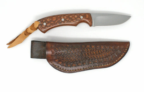 CUSTOM DROP POINT HUNTING KNIFE WITH HAND CRAFTED LEATHER SHEATH