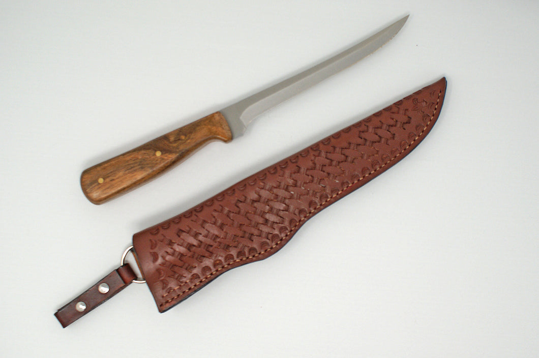 Custom fillet knife with hand crafted leather sheath