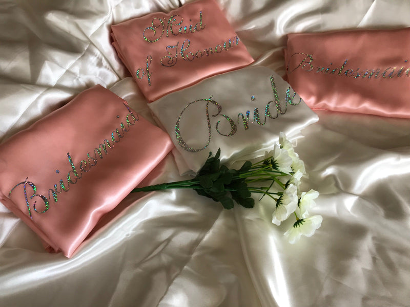 Personalised Bridesmaid Robes Set of 4 - White and Rose Gold Robes with Silver Holographic Print in Shelley Volante Font