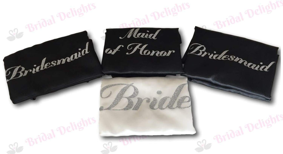 Custom made set of 4 Bridesmaid Robes - White and Black with Silver Glitter Print in Font Mademoiselle