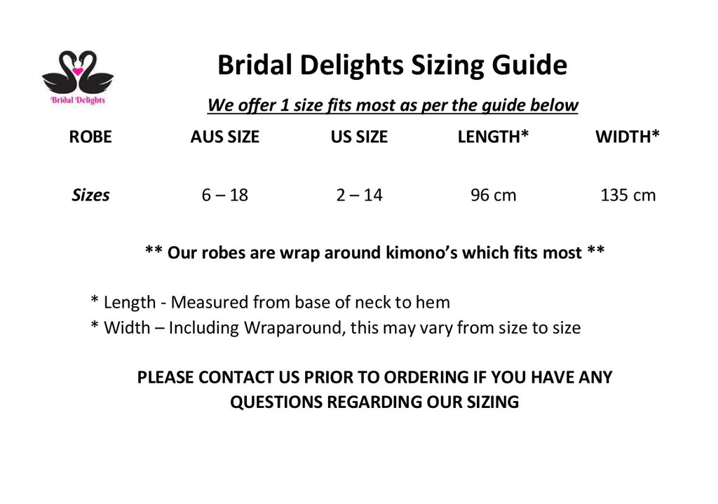 Sizing Guide | Bridal Delights