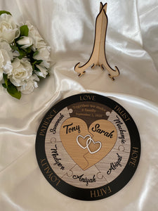 Wedding Ceremony Puzzle - Hearts with 7 names |  Bridal Delights