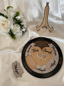 Wedding Unity Puzzle - Hearts with 7 names |  Bridal Delights