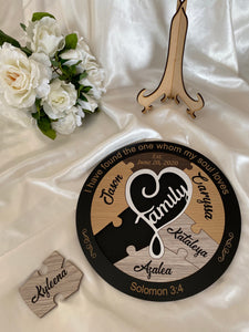 Unity Puzzle - Family with 5 names | Bridal Delights