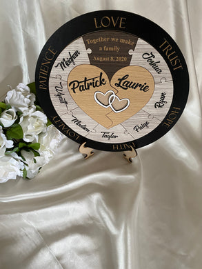 Wedding Ceremony Puzzle - Hearts with 9 names | Bridal Delights