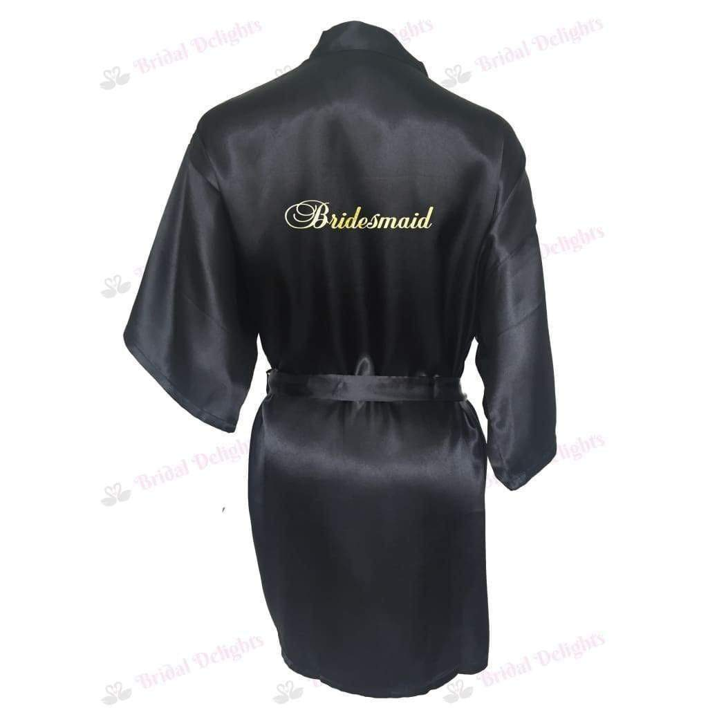 Black Bridesmaid Robe - Bridal Party Robe from  -  Bridal Delights