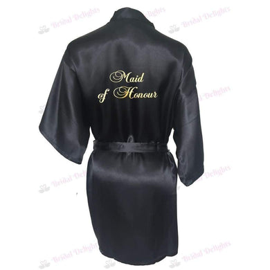 Black Bridesmaid Robe - Maid of Honour from