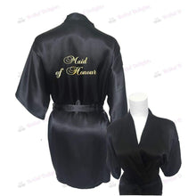 Load image into Gallery viewer, Black Bridesmaid Robe - Maid of Honour from  -  Bridal Delights