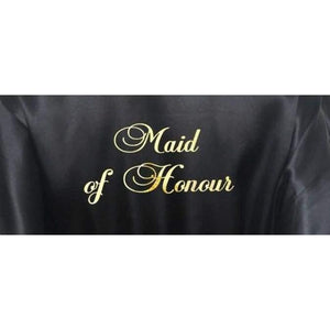 Black Bridesmaid Robe - Maid of Honour from  -  Bridal Delights