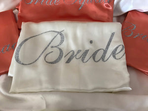 Bridesmaid Robes On Sale / Ready to Ship - Set of 4 Ivory and Coral Robes  -  Bridal Delights
