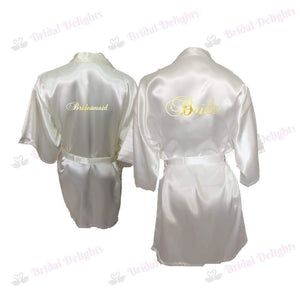 Bridesmaid Robes Set of 2 - White and Ivory Bridal Party Robes  -  Bridal Delights