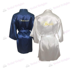 Bridesmaid Robes Set of 2 - White and Navy Blue Bridal Party Robes