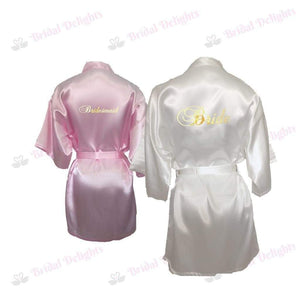 Bridesmaid Robes Set of 2 - White and Pink Bridal Party Robes  -  Bridal Delights