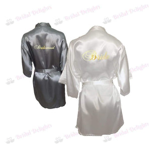 Bridesmaid Robes Set of 2 - White and Silver Bridal Party Robes  -  Bridal Delights