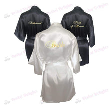 Load image into Gallery viewer, Bridesmaid Robes Set of 3 - White and Black Bridal Party Robes  -  Bridal Delights