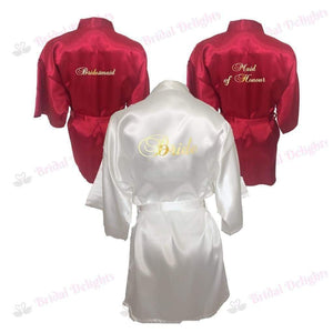 Bridesmaid Robes Set of 3 - White and Burgundy Bridal Party Robes  -  Bridal Delights
