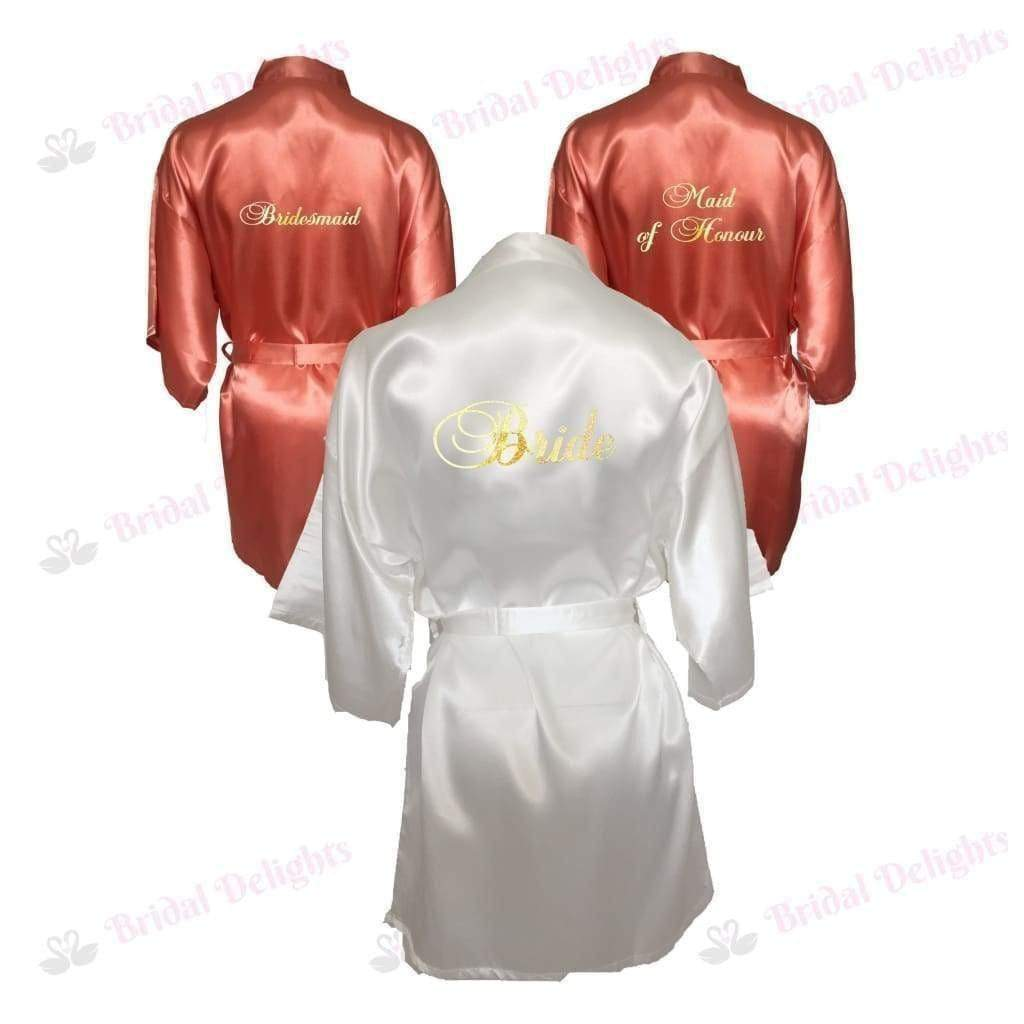 Bridesmaid Robes Set of 3 - White and Coral Bridal Party Robes  -  Bridal Delights