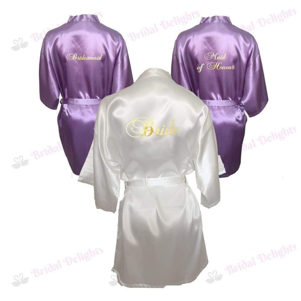 Bridesmaid Robes Set of 3 - White and Lilac Bridal Party Robes  -  Bridal Delights