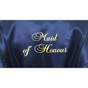 Bridesmaid Robes Set of 3 - White and Navy Blue Bridal Party Robes