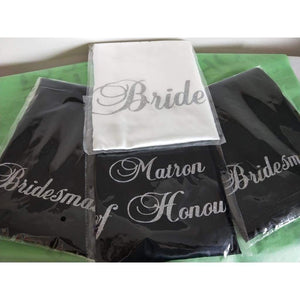 Bridesmaid Robes Set of 4 - White and Black Bridal Party Robes  -  Bridal Delights