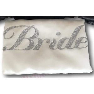 Bridesmaid Robes Set of 4 - White and Black with Silver Glitter Print